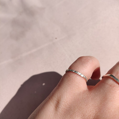 Handmade 100% Recycled Sterling Silver 1.2mm Bark / Linear Texture Stacking Ring