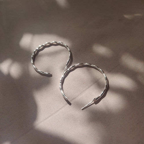 Handmade 100% Recycled Sterling Silver Wave Hoop Earrings - Large