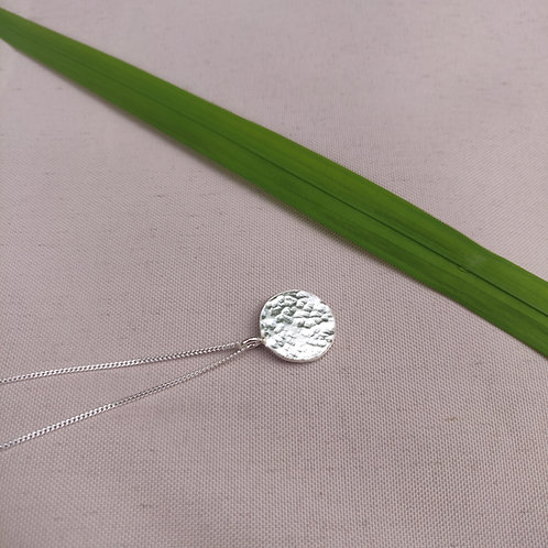 Handmade 100% Recycled Sterling Silver Hammered Circle Pendant – Small