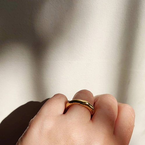 Handmade Thin Molten Ring in Recycled Silver or Gold Vermeil