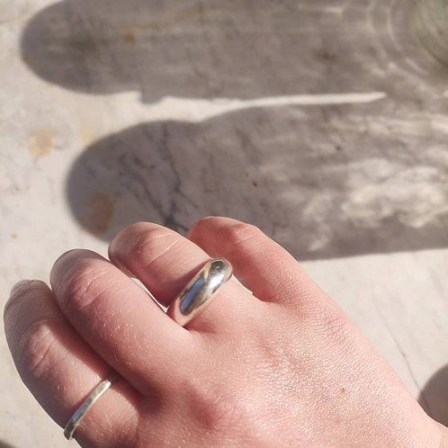 Handmade Chunky Dome Ring Recycled Silver or Gold Vermeil