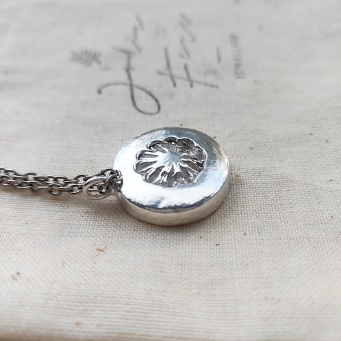 Handmade Chunky Recycled Silver Pressed Poppy Necklace
