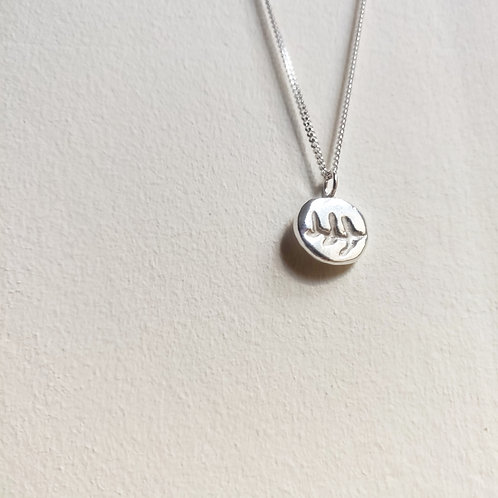 Handmade Recycled Silver Hand Carved Fern Necklace