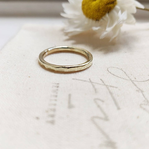 Handmade Recycled 9ct Gold Hammered Stacking Ring