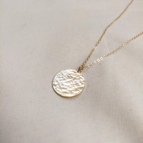 PRE-ORDER Handmade Gold Plated Hammered Disc Pendant – Large