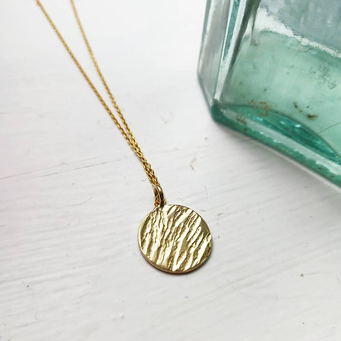 PRE-ORDER Handmade Gold Plated Silver Bark Texture Coin Necklace