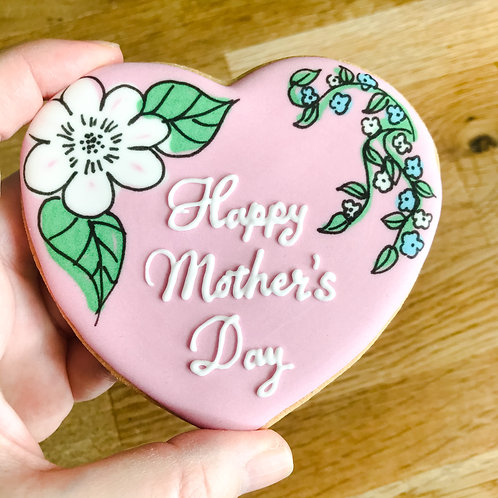 Better With A Biscuit - Mother's Day Floral Heart Biscuit - Pink