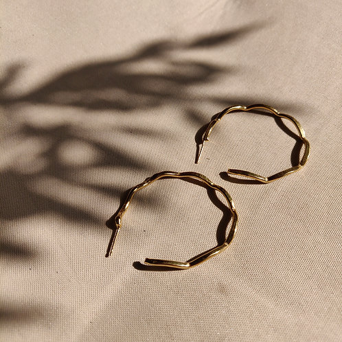 Handmade Gold Plated Silver Large Wave Hoop Earrings