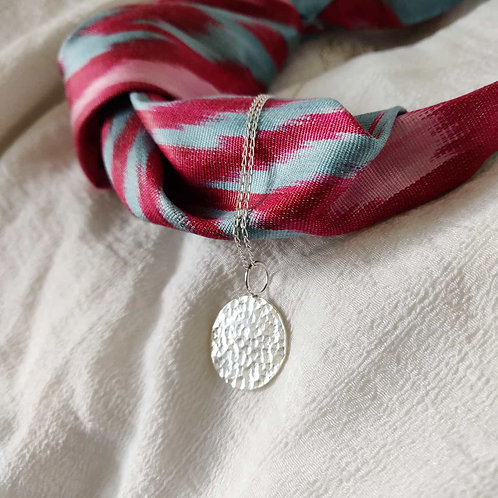 Handmade 100% Recycled Silver Hammered Coin Necklace