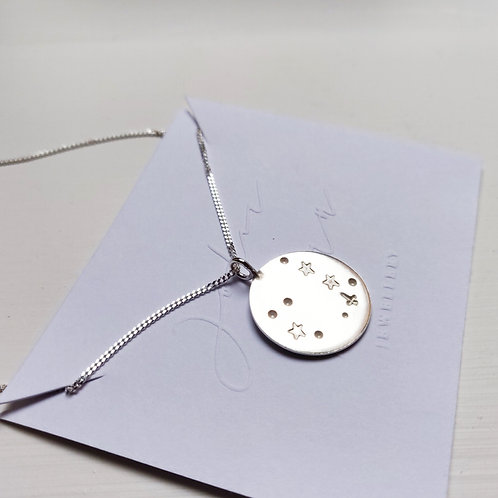 Handmade 100% Recycled Sterling Silver Customisable Star Disc Pendant - Large