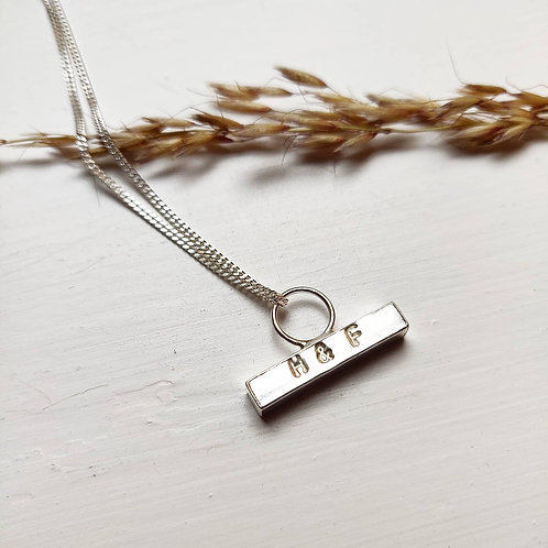 Personalised Handmade Recycled Silver Chunky Hammered Toggle Necklace - Large