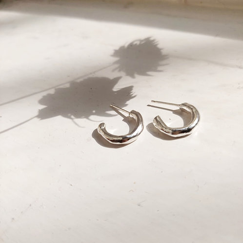 Handmade Mini Molten Hoops in Recycled Silver or Gold Vermeil