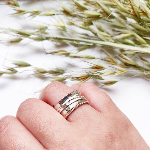 Handmade Sterling Silver Hammered Worry Ring