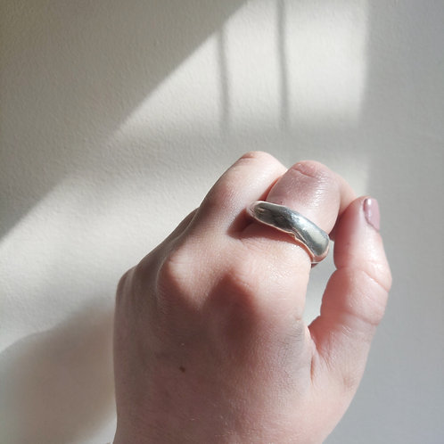 Handmade Super Chunky Molten Ring in Recycled Silver or Gold Vermeil