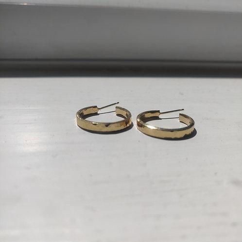Handmade Gold Vermeil Hammered Chunky Hoop Earrings