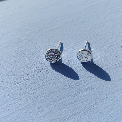 Recycled Sterling Silver Moon Circle Stud Earrings