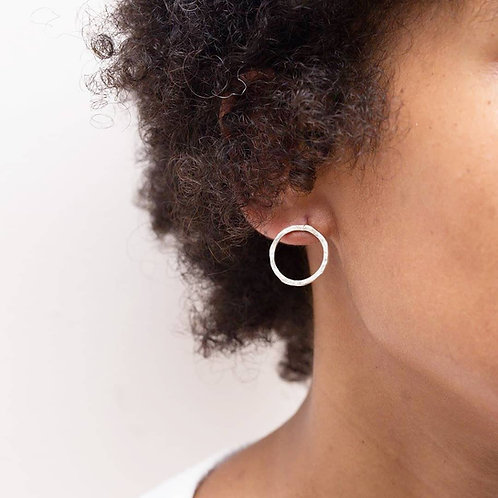 Hammered 100% Recycled Silver Open Circle Earrings