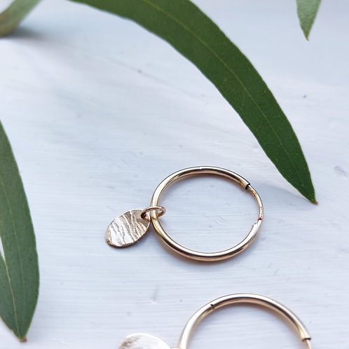 Handmade Filled Gold Sleeper Hoops with Hammered Oval Pendant - Medium