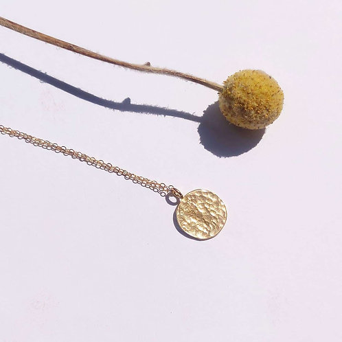 PRE-ORDER Gold Plated Hammered Disc Pendant Necklace – Small