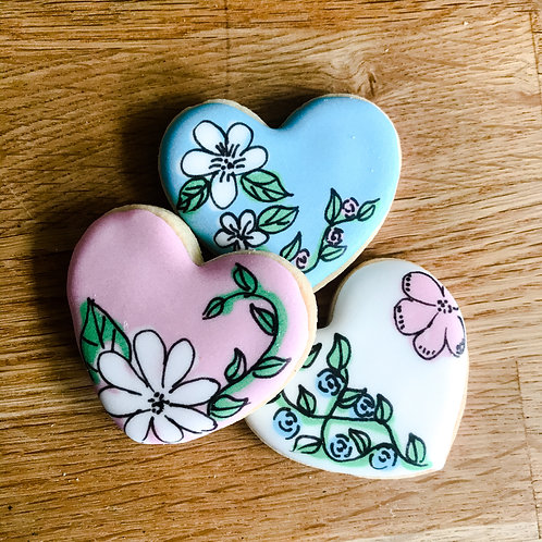 Better With A Biscuit - Mother's Day Floral Biscuits -Three Mini Hearts