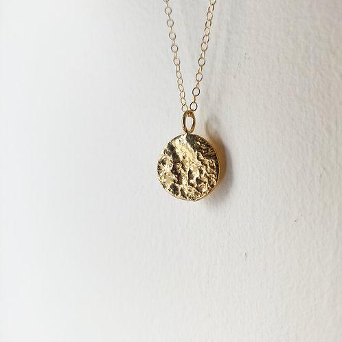 Handmade Gold Vermeil Molten Disc Necklace