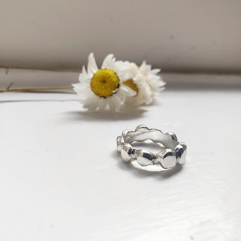 Handmade Cobble Stone Chunky Ring in Recycled Silver or Gold Vermeil