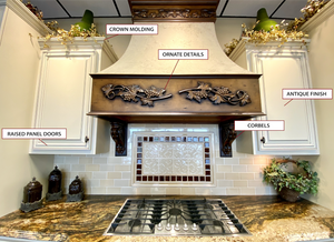 Traditional cabinetry - ornate details, corbels, antique finish