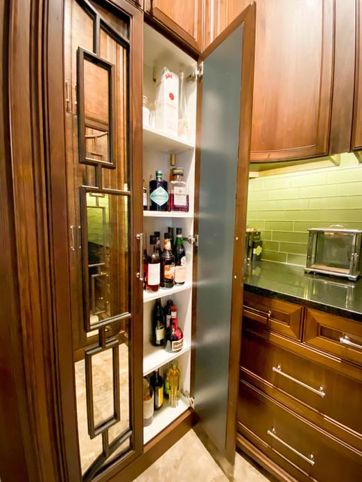 Dry Bar - Mullion Doors - Liquor Cabinet