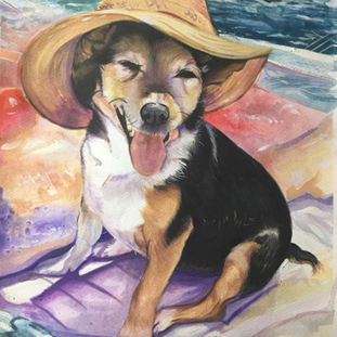 Sun bathing - watercolour