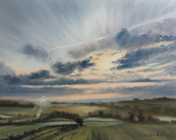 Misty morning in the Woodford valley - Oil on board.