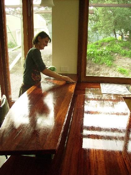 Stephens Freda applying hard burnish oil website.JPG