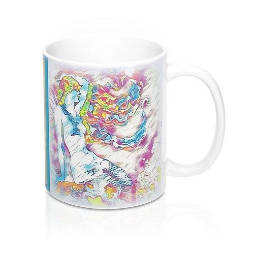 Mermaid Print Coffee Mug Beach Themed Art Kitchen Decor Between Heaven and Hell