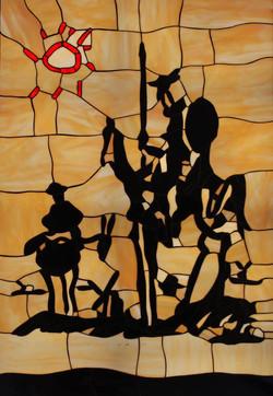 DEl PIntor Pablo Picasso Quijote en Tecnica Tiffany.