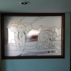 Elefantes para Oficina, Vidrio sin color texturizado. Medidas apro. 1.80x1.2