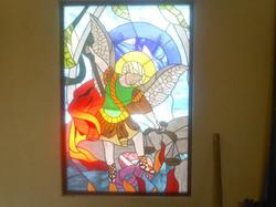 San MIguel Arcangel, Vitral Emplomado, sencillo detalle pintado en Cara. 2.20x1.60 VyP.2014