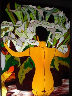 Vendedora de Alcatraces del Maestro Diego Rivera. Vitral Tiffany