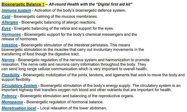Healy Program descriptions - bioenergeti