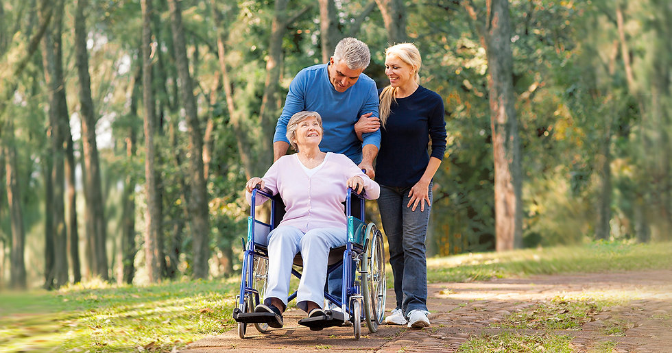 An elderly woman is being pushed in a wheelchair in a park by her adult children.