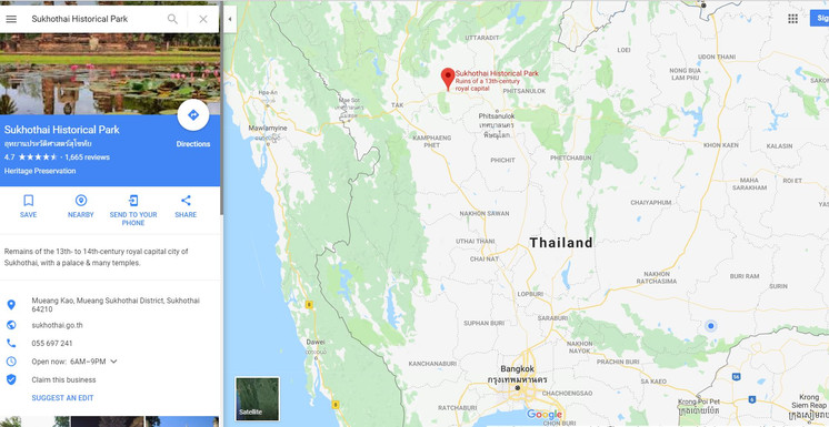 Sukhothai Historical Park Google Map