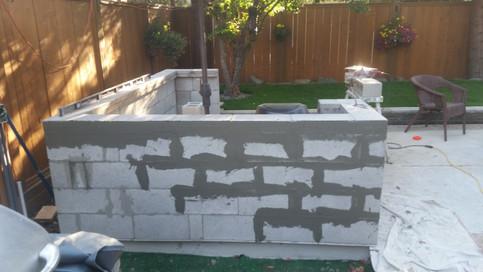Outdoor Kitchen Using Masoney Blocks for Base