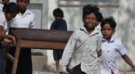 Cambodia Students helping