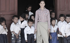 Cambodia teacher with students