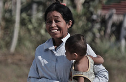 Cambodia lady with baby