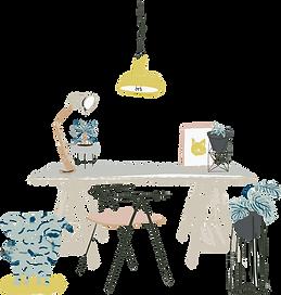 Illustration workspace desk computer girly