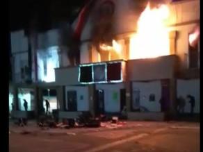 Ejidatarios queman palacio municipal de Altamirano