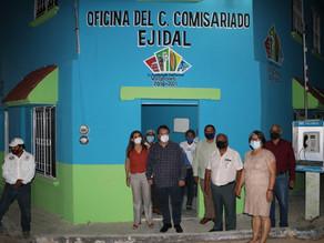 Ejidatarios de Domingo Chanona agradecen rehabilitación de casa ejidal