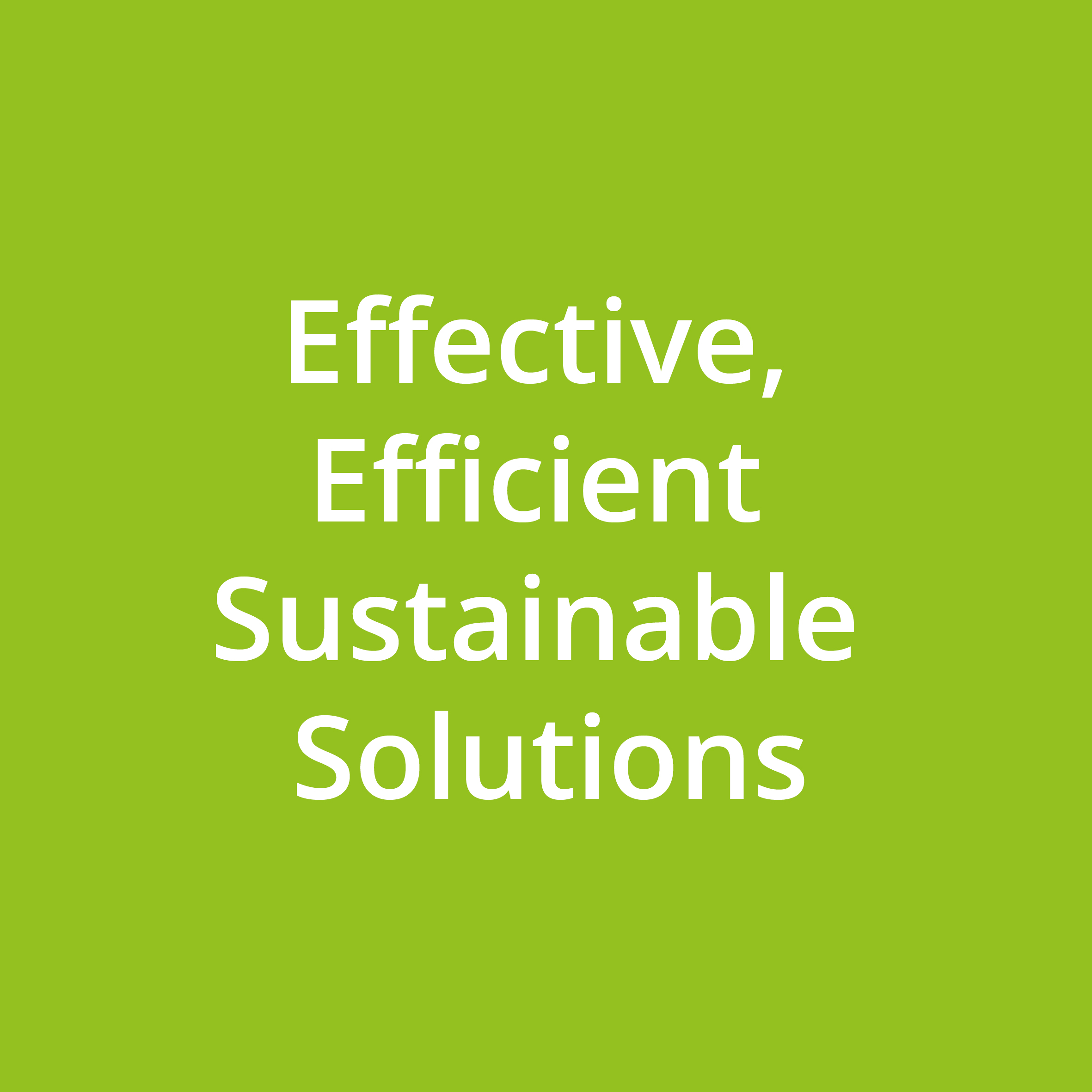 Effective, Efficient Sustainable Solutions