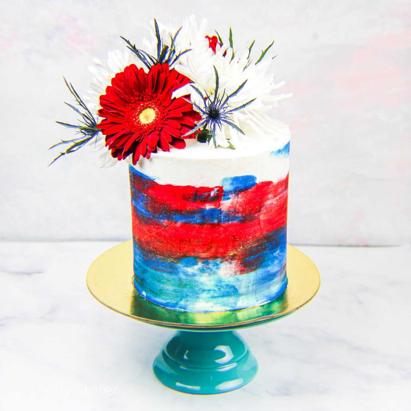 Watercolor Buttercream 4th of July Cake