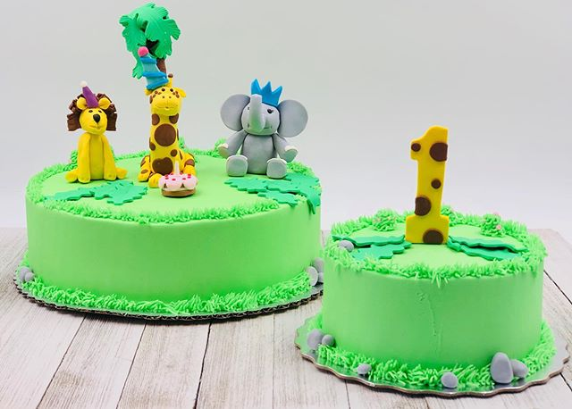 Safari Theme 1st Birthday Cake and Smash