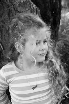 girl black and white portrait
